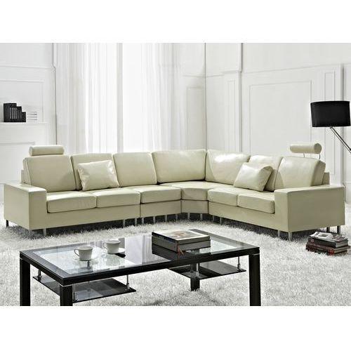 Stylowa sofa kanapa z bezowej skóry naturalnej naroznik STOCKHOLM, Beliani z Beliani