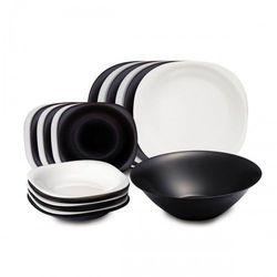 Serwis obiadowy Carine biało-czarny 19 elementów 05007, kolor czarny