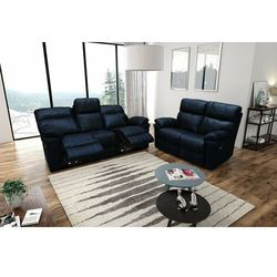 Valetta - Sofa 3 relax elektryczna + Sofa 2 - błękit, kolor niebieski