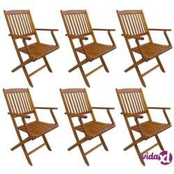 Vidaxl składane krzesła ogrodowe, 6 szt., lite drewno akacjowe (8719883605487)
