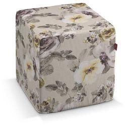 Dekoria pufa kostka twarda, żółte kwiaty na lnianym tle, 40x40x40 cm, londres