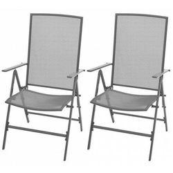 vidaXL Krzesła ogrodowe, sztaplowane, 2 szt., stalowe, szare, vidaxl_42716