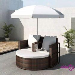 vidaXL Rattanowa sofa z parasolem (Brązowa)