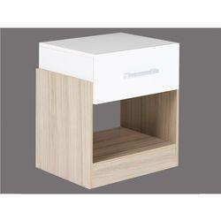 Stolik nocny bodil - 1 szuflada - dąb i kość słoniowa marki Vente-unique