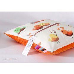 MAMO-TATO Poduszka Minky dwustronna 40x40 Ptaszki kremowe / pomarańcz