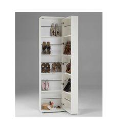 Szafka na buty walker - 1 szafka z drzwiczkami, 1 lustro - biały marki Vente-unique