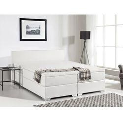 Łóżko kontynentalne 160x200 cm - skóra ekologiczna - PRESIDENT białe (łóżko)