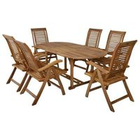 Hecht czechy Hecht camberet set meble ogrodowe zestaw mebli ogrodowych stół + 6 krzeseł drzewo akacja - ewi