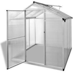 Vidaxl szklarnia, wzmocniona rama podstawy, aluminium, 3,46m²
