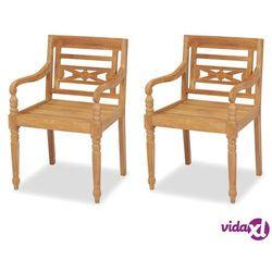 Vidaxl krzesła ogrodowe batavia, 2 szt., drewno tekowe, 55x51,5x84 cm (8718475570431)