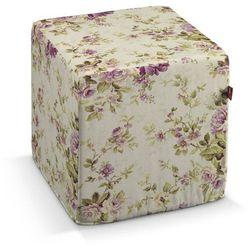 Dekoria  pufa kostka twarda, różowo-wrzosowe kwiaty na lnianym tle, 40x40x40 cm, londres