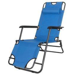 Leżak ogrodowy z zagłówkiem niebieski - niebieski \ gc0004 marki Springos