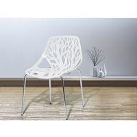 Beliani Krzesło ogrodowe - plastikowe białe - krzesło z tworzywa sztucznego - chromowane nogi - bleeker (70