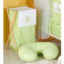 MAMO-TATO Kosz na bieliznę Miś na chmurce w zieleni z kategorii Kosze na pranie