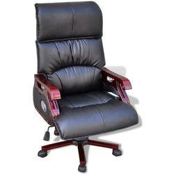 vidaXL Skórzany regulowany fotel masujący - 9 funkcji czarny, kolor czarny