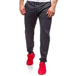 Antracytowe spodnie dresowe baggy męskie Denley 6019 - ANTRACYTOWY, kolor szary