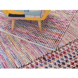 Beliani Dywan - wielokolorowo-biały - 160x230 cm - bawełna - handmade - bartin (7081458294015)