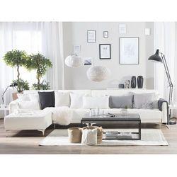 Sofa modułowa rozkładana skóra ekologiczna biała prawostronna ABERDEEN