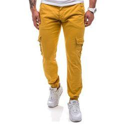 Spodnie męskie joggery  0802 musztardowe - MUSZTARDOWY, spodnie męskie J.N.S