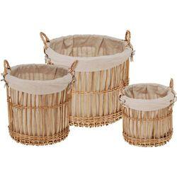 Producent niezdefiniowany Okrągły kosz wiklinowy na pranie - 3 sztuki w zestawie