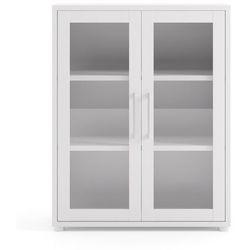 Regał biurowy ze szklanymi drzwiami Prima biały