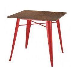 Stół TOWER WOOD czerwony - blat sosna antyczna/metal