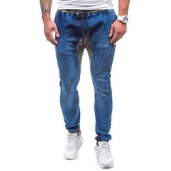 Granatowe spodnie jeansowe joggery męskie Denley 0465 - GRANATOWY, kolor niebieski
