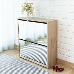 szafka na buty z 2 półkami lustrem w kolorze dąb 63x17x67 cm marki Vidaxl