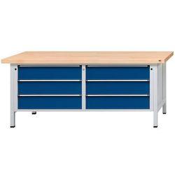 Stół warsztatowy z szufladami xl/xxl, szer. 2000 mm, 6 szuflad 180 mm, blat z li marki Unbekannt