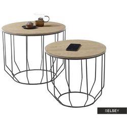 SELSEY Zestaw dwóch stolików Isopo średnica 50 cm dąb (5903025427386)