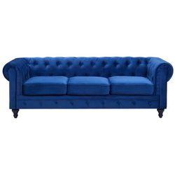Sofa trzyosobowa welur kobaltowa CHESTERFIELD (4260586359381)