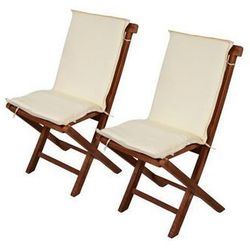 2 x poduszki na krzesła ogrodowe - Kremowe