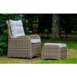Fotel ogrodowy z pufą SECA z technorattanu brąz naturalny