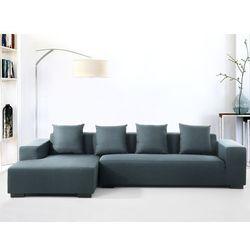 Sofa ciemnoniebieska - sofa narozna P - tapicerowana - LUNGO - oferta [0583407c17054664]