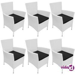 vidaXL Krzesła ogrodowe, 6 szt., rattan PE, śmietankowe