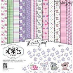 Moda scrap Zestaw papierów color of puppies girl 30x30 cm