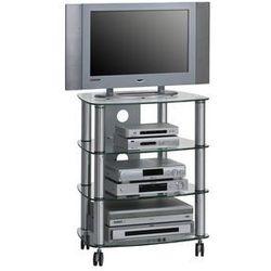 Stolik pod telewizor, 60 cm, srebrny, szkło, metal, 16119499