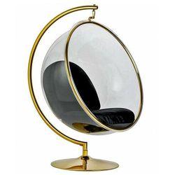 Czarno-złoty fotel wiszący ze stalowym wysięgnikiem - Alear