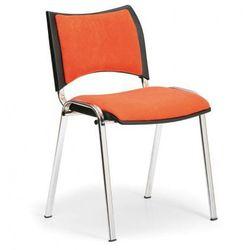 Krzesło konferencyjne smart - chromowane nogi, bez podłokietników, pomarańczowy marki B2b partner