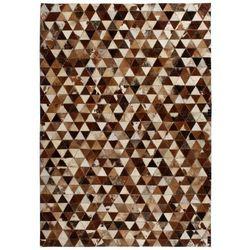 Dywan patchwork z trójkątów, skóra, 120x170 cm, brązowo-biały