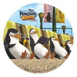 Dekoracyjny opłatek tortowy Pingwiny z Madagaskaru - 21 cm - 1 szt.