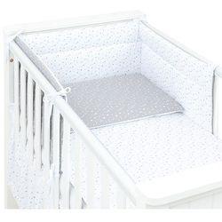 3-el dwustronna pościel dla niemowląt mini gwiazdki szare na bieli / mini gwiazdki białe na szarym do łóżeczka 60x120cm marki Mamo-tato
