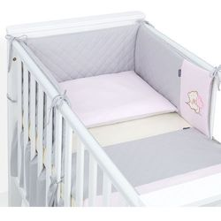 3-el dwustronna pościel pikowana dla niemowląt 90x120 szary / jasny róż marki Mamo-tato