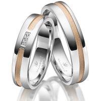 Srebrne Obrączki Ślubne - komplet. Polerowane, pozłacane czerownym złotem, z 3 cyrkoniami