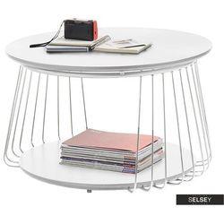 stolik kawowy lampona średnica 70 cm biały mat marki Selsey