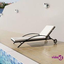 Vidaxl leżak z poduszką i dwoma kółkami, polirattanowy, czarny (8718475501008)