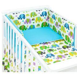 3-el dwustronna pościel dla niemowląt słoniaki zielone / niebieski do łóżeczka 70x140 cm marki Mamo-tato