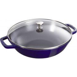 Staub wok średni z pokrywką szklaną 30cm ciemnoniebieski