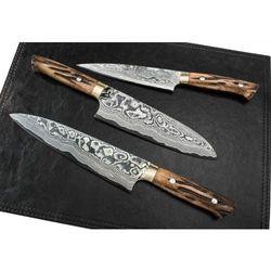 Komplet 3 ręcznie kutych noży kuchennych rękojeści z żółtej byczej kości TAKESHI SAJI