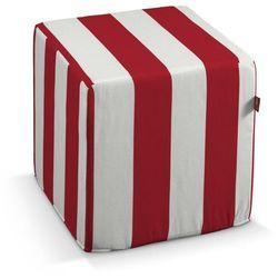 Dekoria pokrowiec na pufę kostke, pasy czerwono-białe, kostka 40x40x40 cm, comics